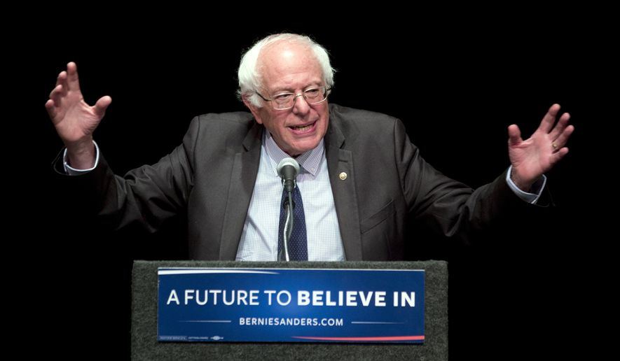 FILE - In this June 24, 2016, file photo, Sen. Bernie Sanders, I-Vt., speaks in Albany, N.Y. Sanders plans to meet with 1,900 of his delegates right before the start of the Democratic National Convention on Monday, part of a series of meetings aimed at providing direction to his undecided supporters after he endorsed Hillary Clinton. (AP Photo/Mike Groll, File)