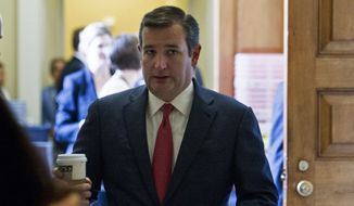 Sen. Ted Cruz, Texas Republican, leaves the Republican policy luncheon on Capitol Hill in Washington on June 28, 2016. Cruz is schedule to speak at the Republican National Convention on July 20. (Associated Press)