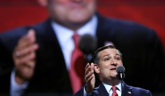 Sen. Ted Cruz, R-Tex., addresses the delegates during the third day session of the Republican National Convention in Cleveland, Wednesday, July 20, 2016. (AP Photo/Carolyn Kaster)