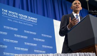 President Barack Obama speaks at the White House Summit on Global Development at the Ronald Reagan Building in Washington, Wednesday, July 20, 2016. (AP Photo/Pablo Martinez Monsivais)