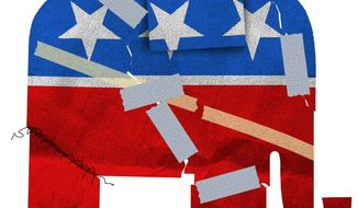 Illustration on GOP unity challenges after their convention by Alexander Hunter/The Washington Times