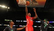 In this Feb. 16, 2014, file photo, West Team's Kevin Durant heads to the hoop against Team East's Chris Bosh, left, and Carmelo Anthony during the NBA All-Star basketball game in New Orleans. The league took the 2017 game out of Charlotte on Thursday, July 21, 2016, because of its objections to a North Carolina law that limits anti-discrimination protections for lesbian, gay and transgender people. (AP Photo/Bob Donnan, Pool, File)
