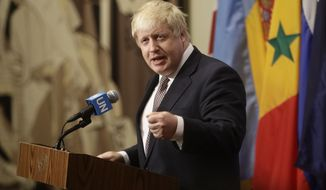 Britain's Foreign Secretary Boris Johnson speaks to the media at United Nations headquarters Friday, July 22, 2016. (AP Photo/Frank Franklin II)