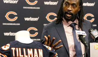 Charles Tillman speaks at a news conference at Halas Hall in Lake Forest, Ill., Friday, July 22, 2016, after signing a one-day contract with the Chicago Bears so he can officially retire as a member of the team that drafted him in 2003. Tillman spent his first 12 seasons with the Bears and went to two Pro Bowls and a Super Bowl with them. Last season he started 12 games with the Carolina Panthers before suffering a season-ending knee injury and missed the team's run to the Super Bowl. (AP Photo/Tae-Gyun Kim)