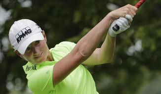 FILE - In this Sunday, July 12, 2015,  file photo,  Stacy Lewis hits off the second tee during the final round of the U.S. Women's Open golf tournament at Lancaster Country Club in Lancaster, Pa. Golf waited 112 years to get back into the Olympics, and in the months leading up to the Rio Games, the biggest obstacle turned out to be getting its biggest stars to play. (AP Photo/Frank Franklin II, File)