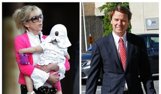 "This photo combo shows Rielle Hunter, left, in an Aug. 6, 2009, file photo, and former U.S. senator and presidential candidate John Edwards in a May 10, 2012, file photo. Hunter appeared with her and Edwards' daughter, Quinn, now 8, in an interview aired on ABC's ""Good Morning America"" Friday, July 22, 2016. (AP Photo/Jim R. Bounds, Gerry Broome, File)"