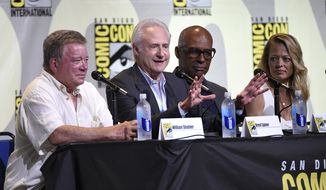 "William Shatner, from left, Brent Spiner, Michael Dorn, and Jeri Ryan attend the ""Star Trek"" panel on day 3 of Comic-Con International on Saturday, July 23, 2016, in San Diego. (Photo by Chris Pizzello/Invision/AP)"
