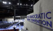 Work continues inside the convention hall before the Democratic National Convention, Saturday, July 23, 2016, in Philadelphia. (AP Photo/Alex Brandon)