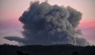 A large plume of smoke from a wildfire rises near Highway 1, burning five miles south of Carmel, Calif., on Friday, July 22, 2016. (AP Photo/Richard Vogel)