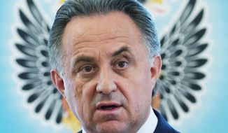 Russian Sports Minister Vitaly Mutko speaks to the media in Moscow, Russia, Thursday, July, 21, 2016. Mutko says the country's athletes who are banned from competing in next month's Olympics in Rio de Janeiro could go to a civil court to try and overturn the ban. (AP Photo/Alexander Zemlianichenko Jr.)