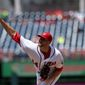 Washington Nationals starting pitcher Lucas Giolito allowed four runs, including two earned, walked three and struck out none over 31/3 innings in a 10-6 loss to the San Diego Padres on Sunday. Giolito was sent back to Triple-A Syracuse following the game. (Associated Press)