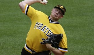 Pittsburgh Pirates closer Mark Melancon delivers in the ninth inning of a baseball game against the Philadelphia Phillies in Pittsburgh, Sunday, July 24, 2016. Melancon got his 30th  save in the Pirates 5-4 win. (AP Photo/Gene J. Puskar)