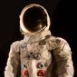 The spacesuit worn by astronaut Neil Armstrong, Commander of the Apollo 11 mission, is on display at the National Air and Space Museum in Chantilly, Virginia. (Associated Press)