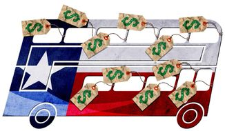 Illustration on the bus tax by Greg Groesch/The Washington Times