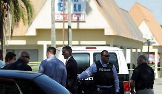 Gunfire erupted Monday at Club Blu in Fort Myers, Florida, killing two and wounding 20 others a month after a gun massacre in Orlando. (Associated Press photographs)
