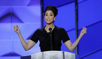 Comedian Sarah Silverman speaks during the first day of the Democratic National Convention in Philadelphia , Monday, July 25, 2016. (AP Photo/J. Scott Applewhite) ** FILE **