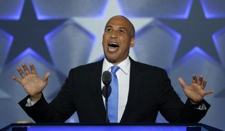 Sen. Cory Booker, D-NJ., speaks during the first day of the Democratic National Convention in Philadelphia , Monday, July 25, 2016. (AP Photo/J. Scott Applewhite)