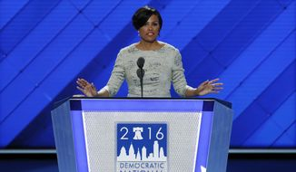 Baltimore mayor Stephanie Rawlings-Blake calls the convention to order during the first day of the Democratic National Convention in Philadelphia , Monday, July 25, 2016. (AP Photo/J. Scott Applewhite)