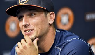 Houston Astros' Alex Bregman talks with the media before his major league debut in a baseball game against the New York Yankees, Monday, July 25, 2016, in Houston. (AP Photo/Eric Christian Smith)