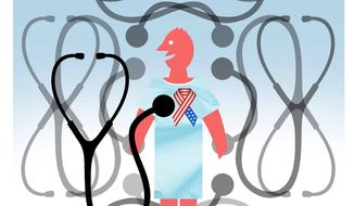 Illustration on expanding health care choices for veterans by Alexander Hunter/The Washington Times
