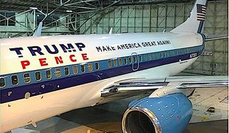 Donald Trump has made sure running mate Mike Pence has his own classy ride for the campaign skies: a 737 jet in patriotic colors. (Image from Larry Glick)