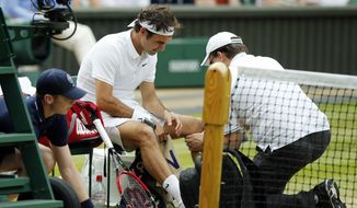 FILE - In this July 8, 2016, file photo, Roger Federer of Switzerland receives medical attention during his men's semifinal singles match against Milos Raonic of Canada at the Wimbledon Tennis Championships in London. Federer says he will miss the Rio Olympics and the rest of the tennis season to protect his surgically repaired left knee. Federer writes Tuesday, July 26, 2016, on his Facebook page that he will skip the Summer Games, where the tennis competition starts next week, and has been advised by doctors to remain sidelined for the remainder of 2016. (AP Photo/Alastair Grant, File) **FILE**