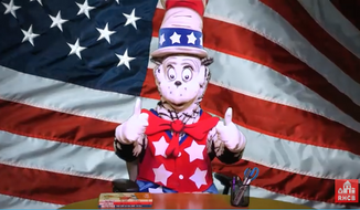 "Screen grab from a video for ""the Cat in the Hat for president."" http://www.seussville.com/catinhat4prez/video"