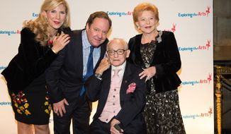 FILE - In this Sept. 29, 2014 file photo, from left, Margo MacNabb Nederlander, James L. Nederlander, James M. Nederlander and Charlene Nederlander attend the 8th Annual Exploring The Arts Gala benefit in New York. James M. Nederlander, who took over the fledgling Nederlander Organization from his father and built it into one of the largest producers of live entertainment and a dominant national theater chain that includes nine Broadway houses, died, Monday, July 25, 2016. He was 94. (Photo by Scott Roth/Invision/AP, File)