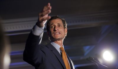 In this Tuesday, Sept. 10, 2013, file photo, Democratic mayoral hopeful Anthony Weiner makes his concession speech at Connolly's Pub in midtown in New York. Weiner, a Democratic former congressman who resigned in disgrace amid a sexting scandal, said Tuesday, July 26, 2016, he'd come out of political retirement to thwart a potential New York City mayoral bid by Republican Donald Trump Jr. (AP Photo/Jin Lee, File)
