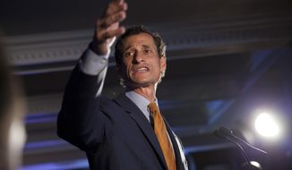 FILE - In this Tuesday, Sept. 10, 2013 file photo, Democratic mayoral hopeful Anthony Weiner makes his concession speech at Connolly's Pub in midtown in New York. Weiner, a Democratic former congressman who resigned in disgrace amid a sexting scandal, said Tuesday, July 26, 2016, he'd come out of political retirement to thwart a potential New York City mayoral bid by Republican Donald Trump Jr. (AP Photo/Jin Lee, File)