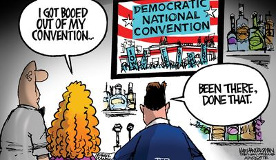 I got booed out of my convention ... (Illustration by Walt Handelsman of The New Orleans Advocate)