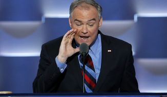 Democratic vice presidential candidate, Sen. Tim Kaine, D-Va., speaks during the third day of the Democratic National Convention in Philadelphia, Wednesday, July 27, 2016. (AP Photo/J. Scott Applewhite)