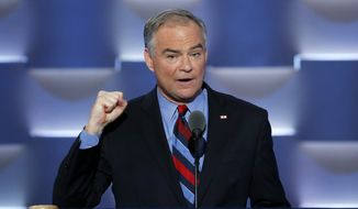 Democratic vice presidential candidate, Sen. Tim Kaine, D-Va., speaks during the third day of the Democratic National Convention in Philadelphia , Wednesday, July 27, 2016. (AP Photo/J. Scott Applewhite)