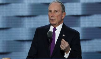 """I'm a New Yorker, and I know a con when I see one,"" Michael Bloomberg, an independent, said at the Democratic National Convention. ""Trump is a risky, reckless, and radical choice and we can't afford to make that choice."" (Associated Press)"
