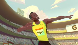 """This image provided by Gatorade shows a scene from """"The Boy Who Learned to Fly,"""" a short animated film about Usain Bolt sponsored by Gatorade and produced by Moonbot Studios. In the film Bolt's mother, Jennifer Bolt, as her animated self gives this advice to her nervous teen before the 2002 junior worlds: """"You can always go fast when you keep it light.""""  (Gatorade/Moonbot via AP)"""