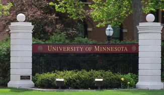 University of Minnesota entrance. Image by Wikimedia Commons user AlexiusHoratius. [https://commons.wikimedia.org/wiki/File:University_of_Minnesota_entrance_sign_1.jpg]