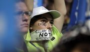 Delegates watch as Democratic presidential nominee Hillary Clinton speaks during the final day of the Democratic National Convention in Philadelphia, Thursday, July 28, 2016. (AP Photo/Matt Rourke)