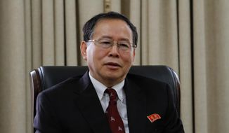 """Han Song Ryol, director-general of the U.S. affairs department at North Korea's Foreign Ministry, talks during an interview with The Associated Press in Pyongyang, North Korea, Thursday, July 28, 2016. Han said that Washington """"crossed the red line"""" and effectively declared war by putting leader Kim Jung-un on its list of sanctioned individuals and said a vicious showdown could erupt if the U.S. and South Korea hold annual war games as planned next month. (AP Photo/Kim Kwang Hyon)"""