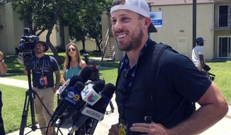 Rams quarterback Case Keenum talks to the media after reporting to training camp in Irvine, Calif. on Thursday, July 28,2016. The Los Angeles Rams' veterans gathered in Orange County for the start of a five-week residency at UC Irvine while their permanent in-season home is built in Thousand Oaks. They'll have plenty of time together to prepare for their homecoming season in California. (AP Photo/Greg Beacham)