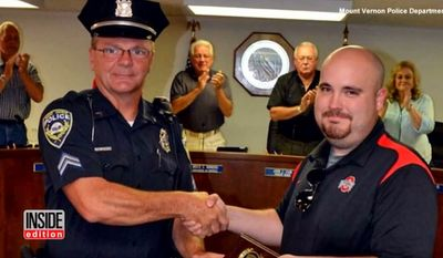 Ohio concealed carrier Dylan DeBoard was presented an award this week for saving Mount Vernon Police Cpl. Michael Wheeler, who was being attacked by a suspect. (Mount Vernon Police Department via Inside Edition)