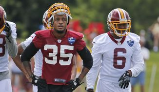 Washington Redskins defensive back Dashaun Phillips (35) and wide receiver T.J. Thorpe (6) take a break during the afternoon practice at the Washington Redskins NFL football teams training camp in Richmond, Va., Friday, July 29, 2016. (AP Photo/Steve Helber)
