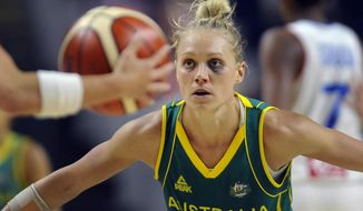 Australia's Erin Phillips guards France's Celine Dumerc, left, during the second half of a women's exhibition basketball game, Friday, July 29, 2016, in Bridgeport, Conn. (AP Photo/Jessica Hill)