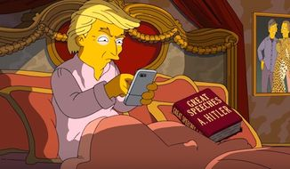 """""""The Simpsons"""" lampooned Donald Trump in a promotional ad by throwing """"Great Speeches by A. Hitler"""" into his bed. (YouTube, Animation on Fox)"""