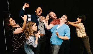 "In this image released by TFA, Tami Sagher, from left, Gillian Jacobs, Keegan-Michael Key, Mike Birbiglia, Chris Gethard and Kate Micucci appear in a scene from, ""Don't Think Twice."" Mike Birbiglia's film lovingly dramatizes the communal but competitive lives of a fictional improv troupe, one whose members bob and weave like featherweight boxers on stage and off it navigate painfully disparate opportunities in show business. (Jon Pack/TFA via AP)"