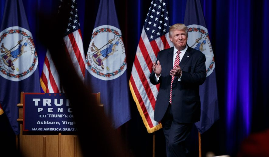 Presidential candidate Donald Trump spoke at a campaign rally in Virginia Tuesday, a week after his feud with the Muslim parents of a deceased U.S. soldier made some in the GOP condemn his words. (Associated Press)