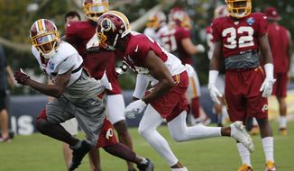 Washington Redskins wide receiver DeSean Jackson, left, looks for a pass as cornerback Josh Norman, right, defends during the afternoon practice at NFL football training camp in Richmond, Va., Tuesday, Aug. 2, 2016. (AP Photo/Steve Helber)