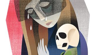 Illustration on the power of a mother's grief by Linas Garsys/The Washington Times