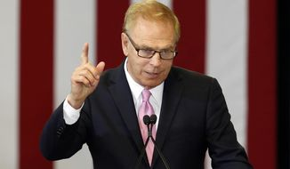 In this June 21, 2016, file photo, former Ohio Gov. Ted Strickland, the Democratic nominee for the Senate in Ohio, speaks in Columbus, Ohio. Republican Sen. Rob Portman rolls out a labor endorsement from a union that had backed his Democratic rival Strickland amid growing concerns among Democrats that Strickland is running a lackluster campaign and their chances of flipping the Ohio seat could be slipped away.  (AP Photo/Jay LaPrete, File)