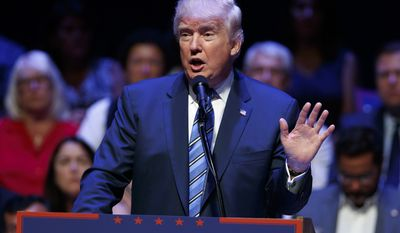 Republican presidential candidate Donald Trump speaks during a campaign rally at Merrill Auditorium, Thursday, Aug. 4, 2016, in Portland, Main (AP Photo/Evan Vucci)