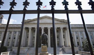 FILE - In this Monday, Aug. 8, 2011, file photo, a statue of former Treasury Secretary Albert Gallatin stands guard outside the Treasury Building in Washington. On Friday, June 10, 2016, the Treasury Department releases federal budget data for May. (AP Photo/Jacquelyn Martin, File)